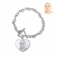 Photo Name Engraved Heart Charm Bracelet Gift For Female Mama Grandma,Stainless Steel Customized Picture Tag Heart Bracelet(China)