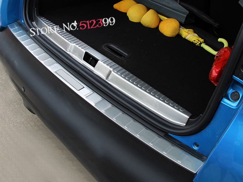 2PCS Stainless Rear Trunk Boot Sill Inner + Outer Bumper Protector Scuff Trim For Renault Captur 2013 2014 2015 2016 2017 2018 2pcs fit for 2012 2013 2014 2015 2016 honda crv cr v rear bumper protector cargo step panel cover sill plate trunk trim garnish