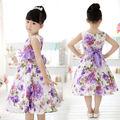 Muchachas Del niño Del Bebé Embroma la Ropa Vestidos de Verano Princesa Del Partido Púrpura de La Flor arco Vestido Vestidos Llenos 2 4 6 7 8 9 10 años