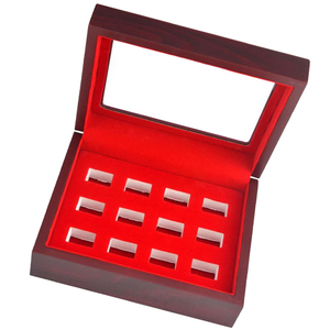 Image 4 - MagiDeal Wooden Box Glass Lid 12 Hole Slot for Sports Fans Athlete Championship Ring Red Interior Antique Collection