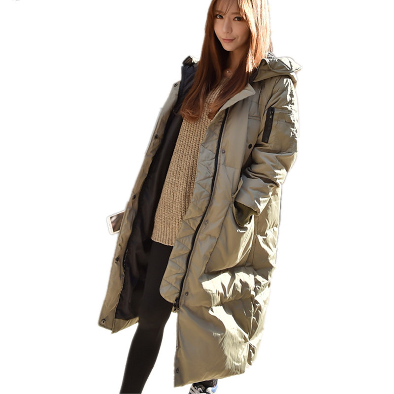 Thick Casual Loose Hooded Large Cotton Padded Casual Parka Long Fashion Winter Women Jacket Solid Color Wadded Parkas TT2520 winter thickening women parkas women s wadded jacket outerwear fashion cotton padded jacket medium long loose casual parka c1142