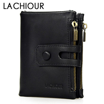 Lachiour Genuine Leather Men Wallets Coin Pocket Zipper Real Men's Leather Wallet with Coin High Quality Male Purse cartera new design genuine leather men wallets coin pocket zipper real leather wallet with coin purse high quality male purse cartera