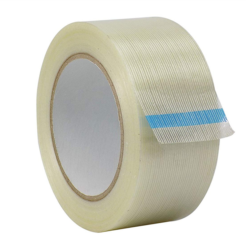 1pcs Strong Glass Fiber Tape Transparent Striped Strong Single Side Mono Mesh Adhesive Tape 1pcs 50M  Free Shipping For Pack