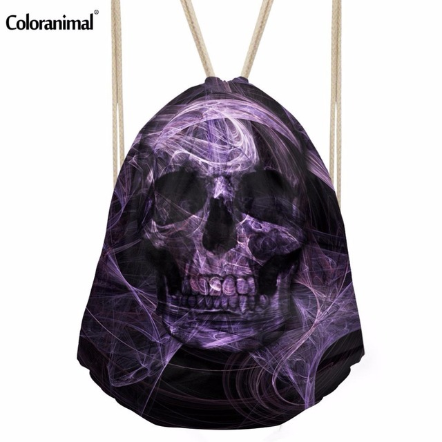 Coloranimal Cool Stylish Drawstring Bag for Kids 3D Skull Print Women String  Shoulder Backpack Cirl Travel Shopping Softback Bag