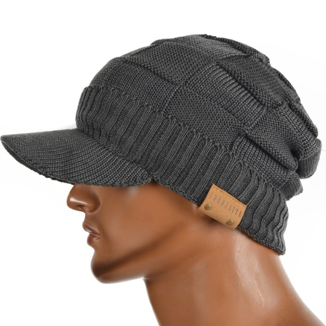 b66ec55c9b74 Men Fleece Lined Visor Beanie Women Visors Newsboy Cap Cadet Hats Cabbie Winter  Hat FORBUSITE
