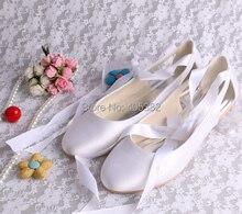 Wedopus De Mariage De Mariée Ballet Appartements Blanc Confortable de Femmes De Bal Chaussures avec Ruban