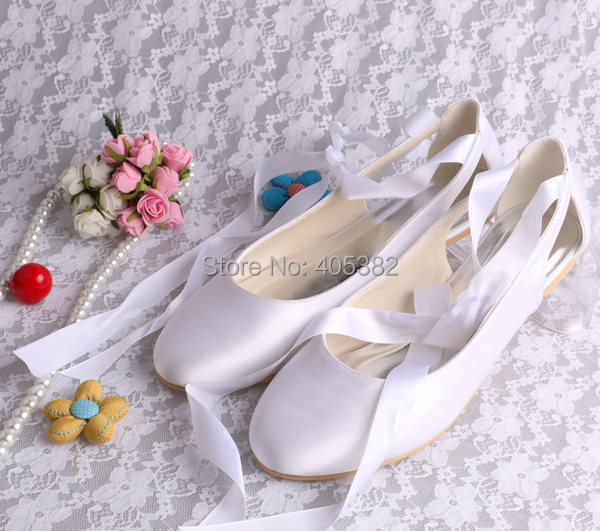 Wedopus Wedding Bridal Ballet Flats White Comfortable Women S Prom Shoes With Ribbon