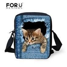 Brand Designer Black Funny 3D Jeans Cat Printed Women Messenger Bags Girls Crossbody Bags,Ladies Small Shoulder bag Bolsos Mujer