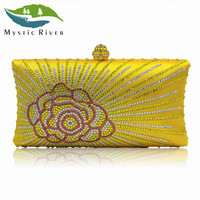 Mystic River Fashion Women Clucth Bag Rose Flower Lady Gold Pink Wedding Party Clutch