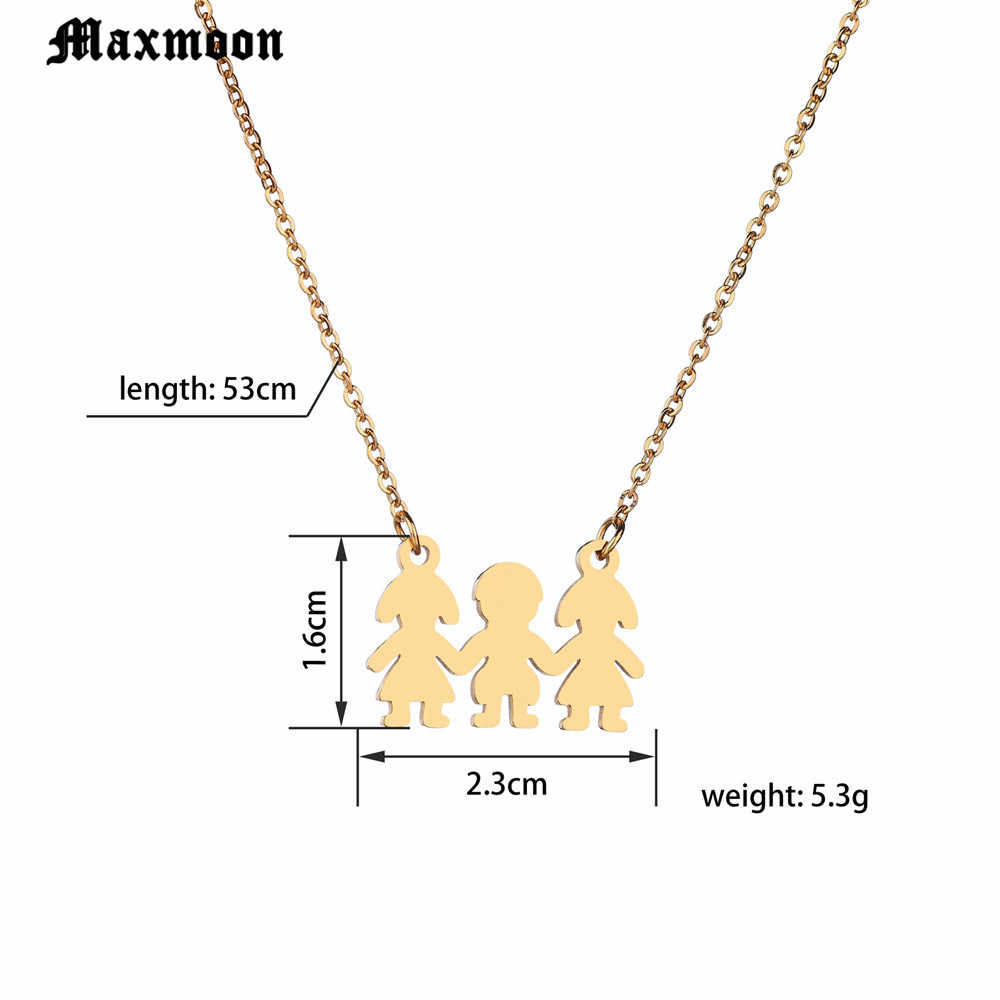 Maxmoon Family  Son Daughter Necklace Stainless Steel Heart Pendant Boy Girl Mother Father Necklace Gifts For Mom Dad Children