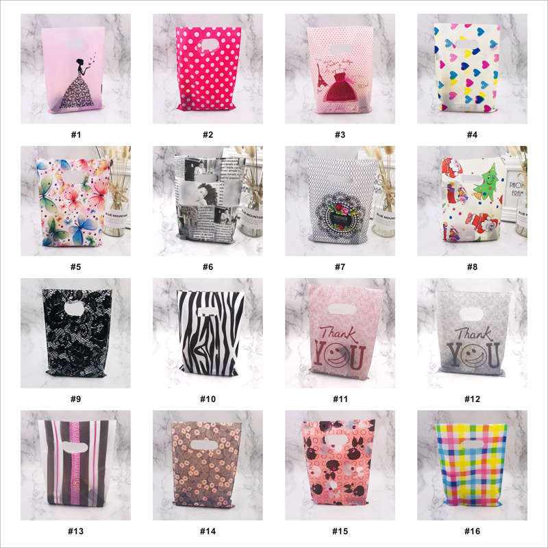 More Pattern Jewelry Plastic Bag With Handle 15x20cm Wedding Gift Thick Shop Gift Shopping Packaging Plastic Handle Bags 50pcs