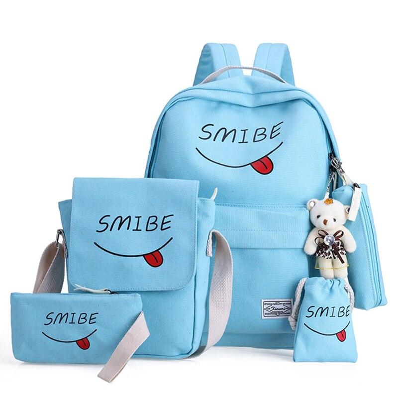 7cf806b3f0ed Купить Школьный рюкзак с принтом, школьный рюкзак, холщовые школьные сумки для  девочек подростков, кошелек с медведем, Mochila, сумки на плечо, ...