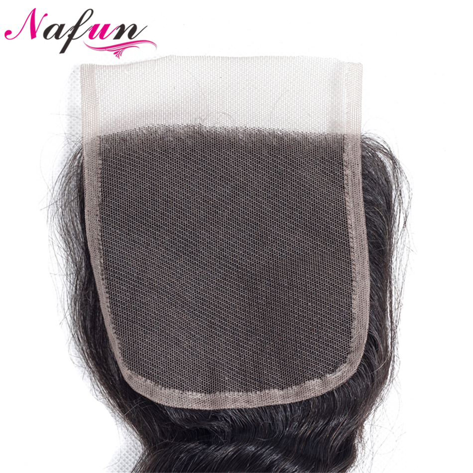 NAFUN Hair Peruvian Loose Wave Natural Color Non Remy Hair Weave 4*4 Lace Closure Free/Middle/Three Part Swiss Lace Hair