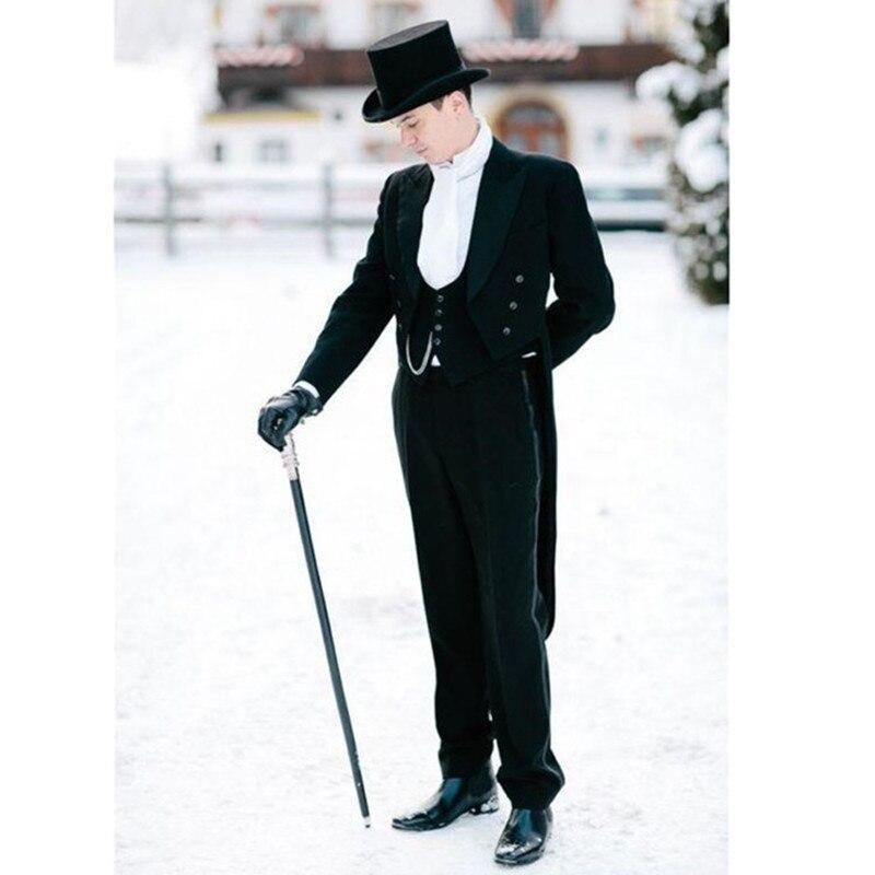 Anzüge & Blazer Modische Männer Anzug Schwarz Frack Bräutigam Hochzeit Smoking Anzug 2017 Groomsmen Herren Anzug Bräutigam 3 Stück Hochzeit Anzüge Für Männer Herrenbekleidung & Zubehör