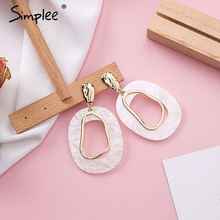 Simplee Hollow out acrylic geometric women earrings Trending fine jewelry vintage earrings Streetwear korean fashion accessories