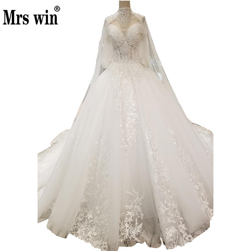 Mrs Win 2019 Princess Luxury Wedding Dress Half Sleeve Elegant Court Train Ball Gown Off The Shoulder Vestido De Novias F