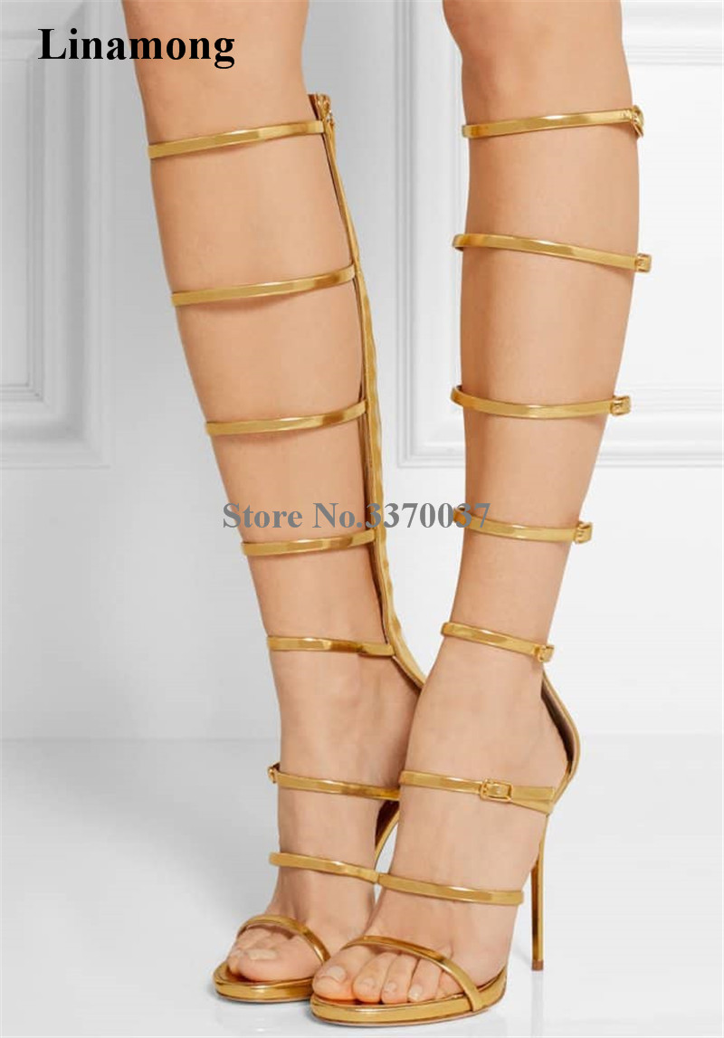 Ladies Sexy Gold Silver Patent Leather Straps Design Knee High Gladiator Sandals Stiletto Thin Heel Sandals Boots High Heels