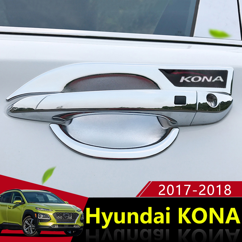 ABS Chrome Car Outer Door Bowl Cover Sticker Decorated Door Bowl Guard For Hyundai Kona Encino 2017 2018 Car Styling Accessories