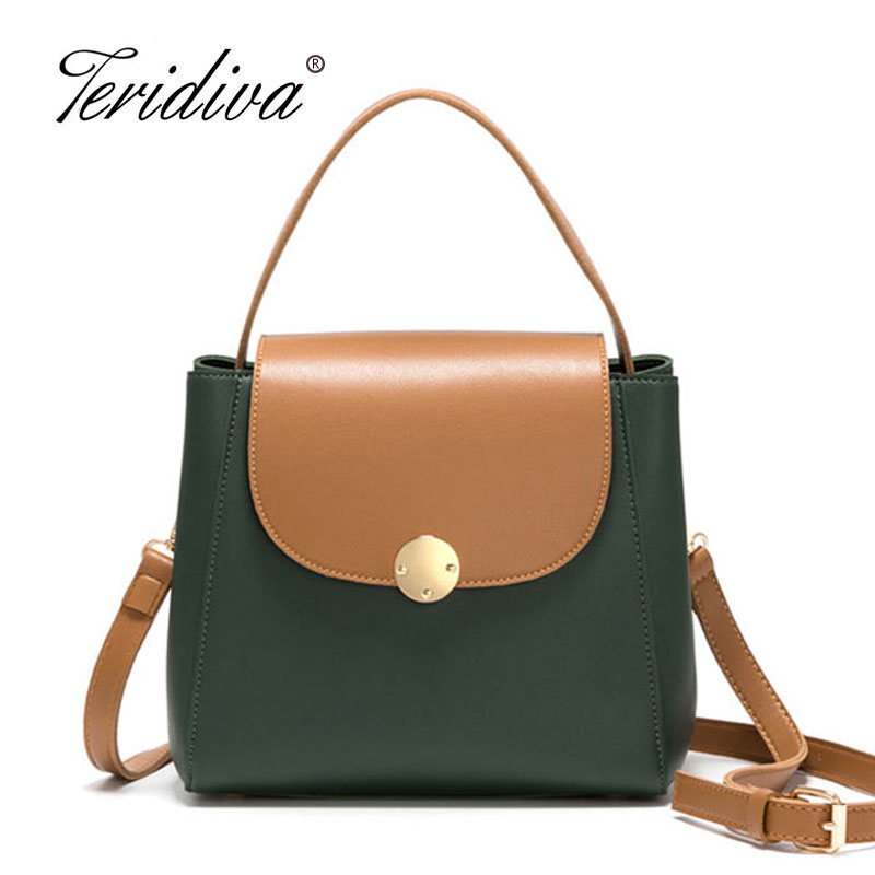 Teridiva 2018 Fashion Women Messenger Bags High Quality Patchwork Shoulder Bags Ladies Small Bucket Handbag Samll Cross Body цена