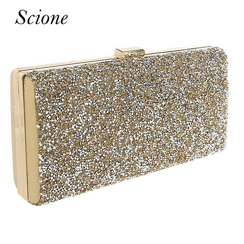 Gold Clutch Women Evening bags Diamond Rhinestone Clutches Crystal Wallet Wedding Purse Party Chian Shoulder Bags Banquet Li250