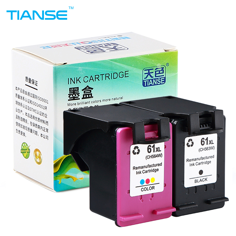 TIANSE 2pk 61XL 61 XL Ink Cartridge HP61 61 For HP Deskjet 1000 1050 1055 2000 2050