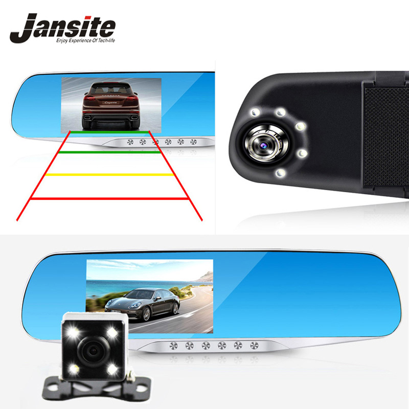Jansite Night Vision Bil Dvr detektor Kamerat Blue Review Spegel DVR Digital Video Recorder Automatisk Videokamera Dash Cam FHD 1080P