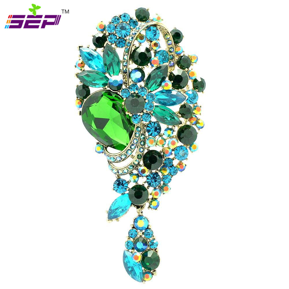 Crystals Rhinestone Flower Brooches Dangle Broach Pins Women Wedding Bridal Jewelry Acce ...