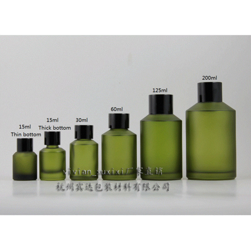 15ml green frosted Glass bottle With black aluminum screw cap and reducer for Essential Oil liquid