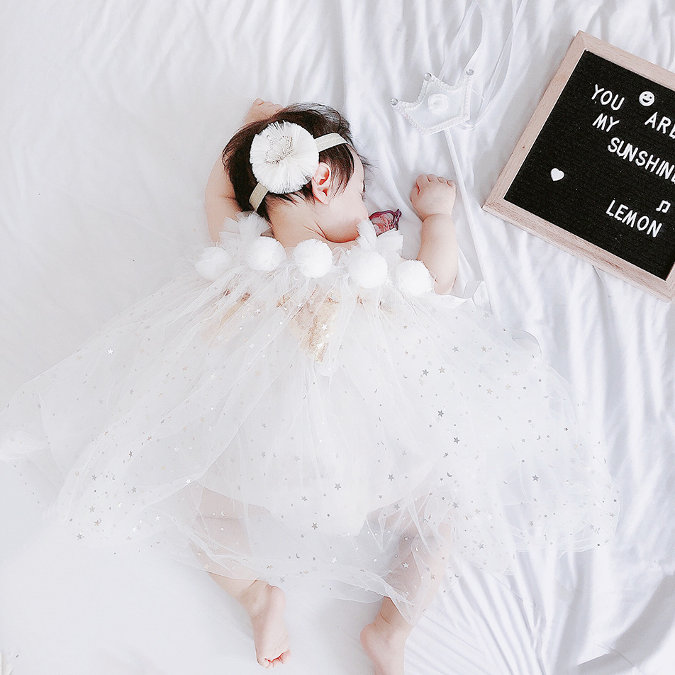 BABY COAT CLOAK GIRLS LACE WHITE FASHION HOT CHIFFON INS DRESSES FAIRY STARS BOYS KIDS
