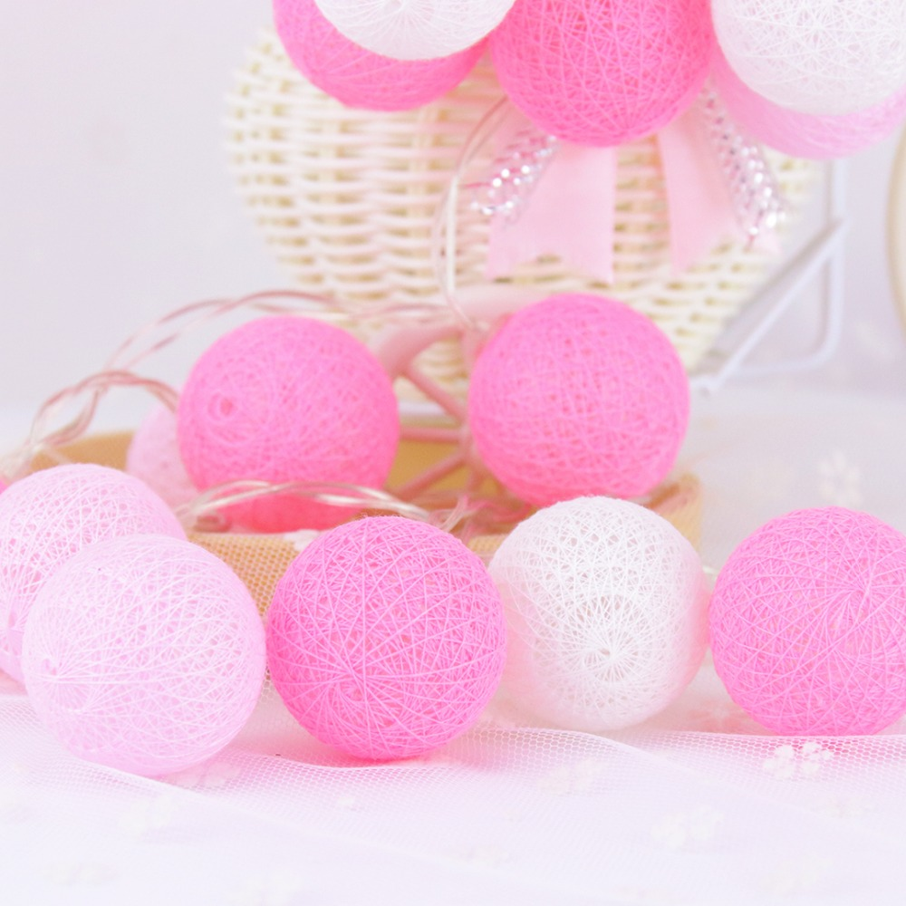 20 Led Pink Cotton Ball Decoración de vacaciones Luz LED String - Iluminación de vacaciones - foto 3