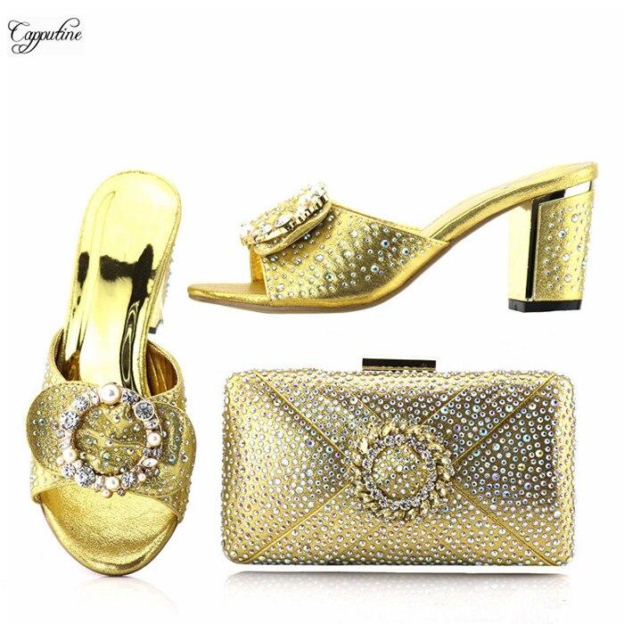 Отличное Вечеринка высокий каблук туфли-лодочки и вечерняя сумочка с Роскошные камни LY589 в золотой