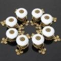 8 Pcs Porta Do Armário Da Gaveta Punho da Mobília Puxadores de Cerâmica e Alças Cozinha Pull Handle Móveis Encaixe de Bronze Branco