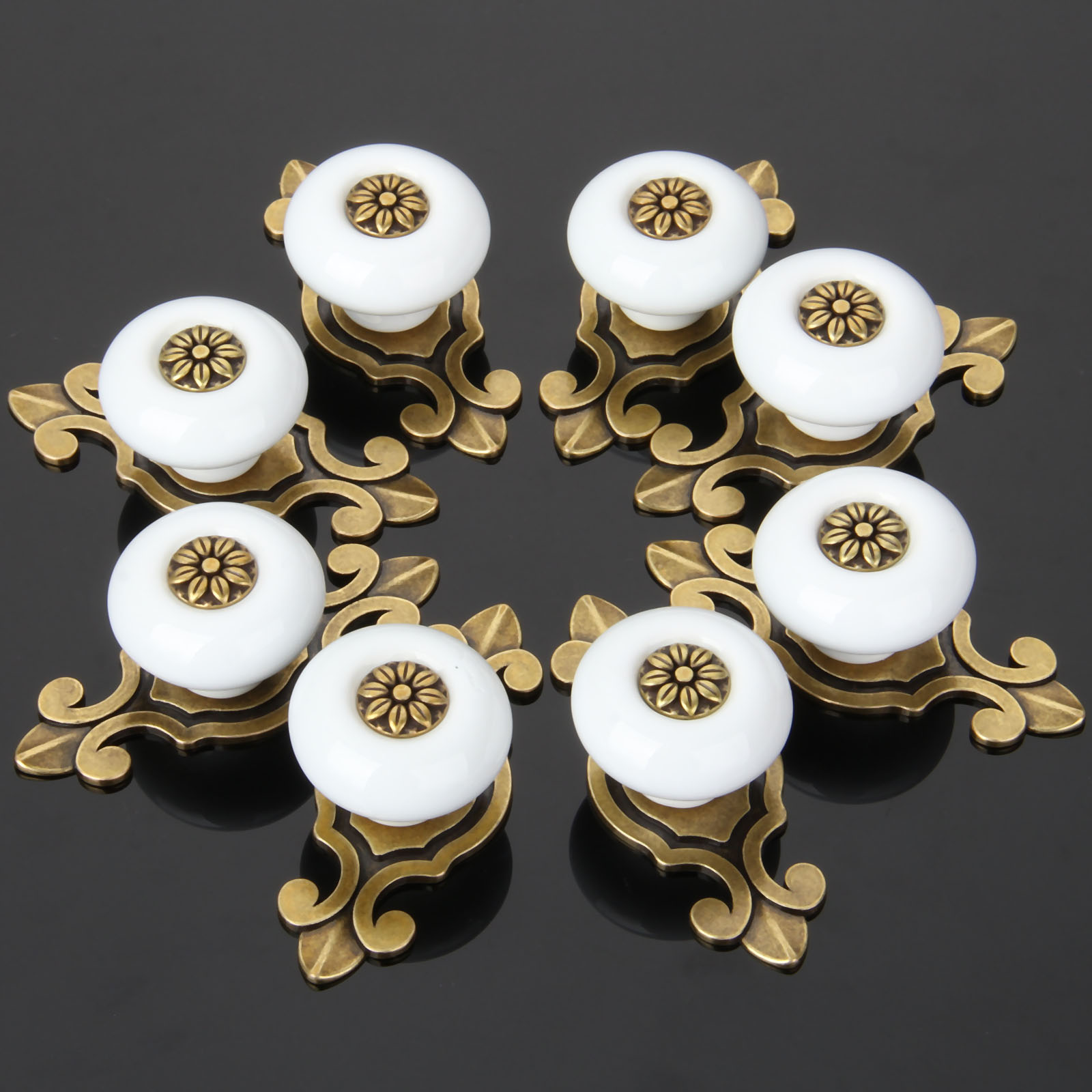8Pcs Furniture Handle Ceramic Cabinet Knobs and Handles Door Cupboard Drawer Kitchen Pull Handle Furniture Fitting Bronze White 1 pair 96mm vintage furniture cupboard wardrobe handles and knobs antique bronze alloy kitchen cabinet door drawer pull handle