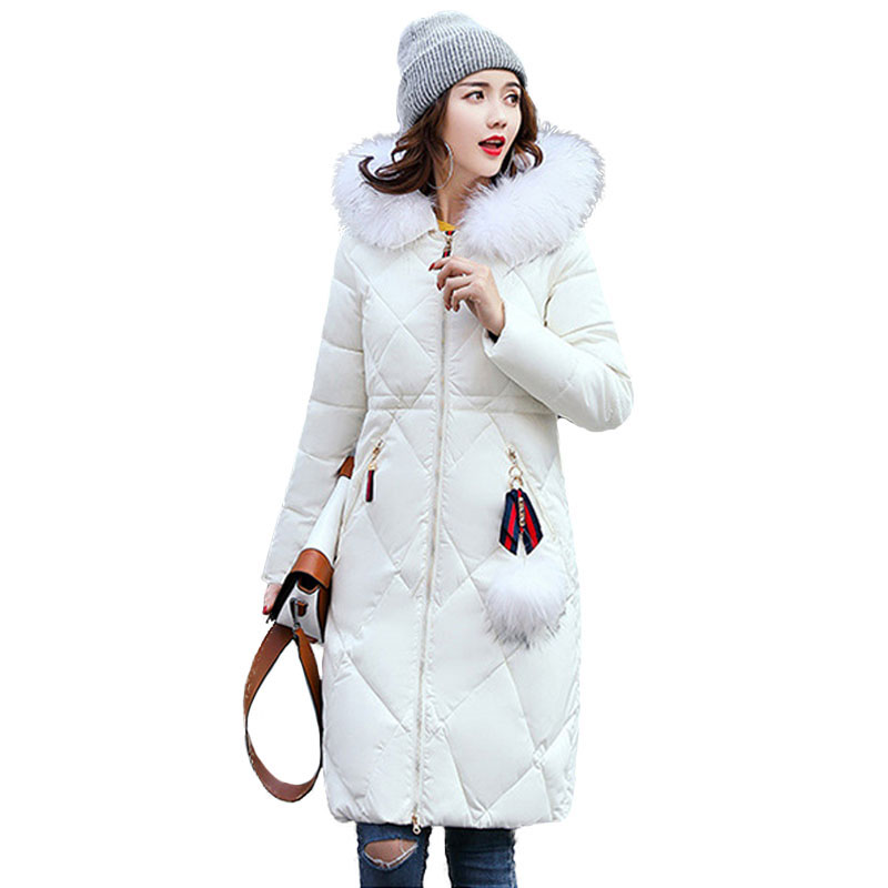 2017 Winter New Arrivals Parka Women Long Slim Thicken Warm Quilted Jackets Female Hooded Faux Fur Collar Cotton Wadded Coat New women winter coat 2017 fashion hooded fur collar hoody long parka mujer winter warm down cotton wadded coat quilted jackets