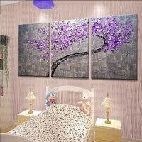 3 Панели Большая картина маслом художника поставка ручная роспись Фиолетовый цветок картина деревья живопись подарок на холсте гостиная до