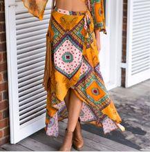 Starlist woman Boho Lace-up Ankle-Length Straight Split skirt Coattail Empire Irregular Skirts Bottoms Summer Beach Maxi Skirt