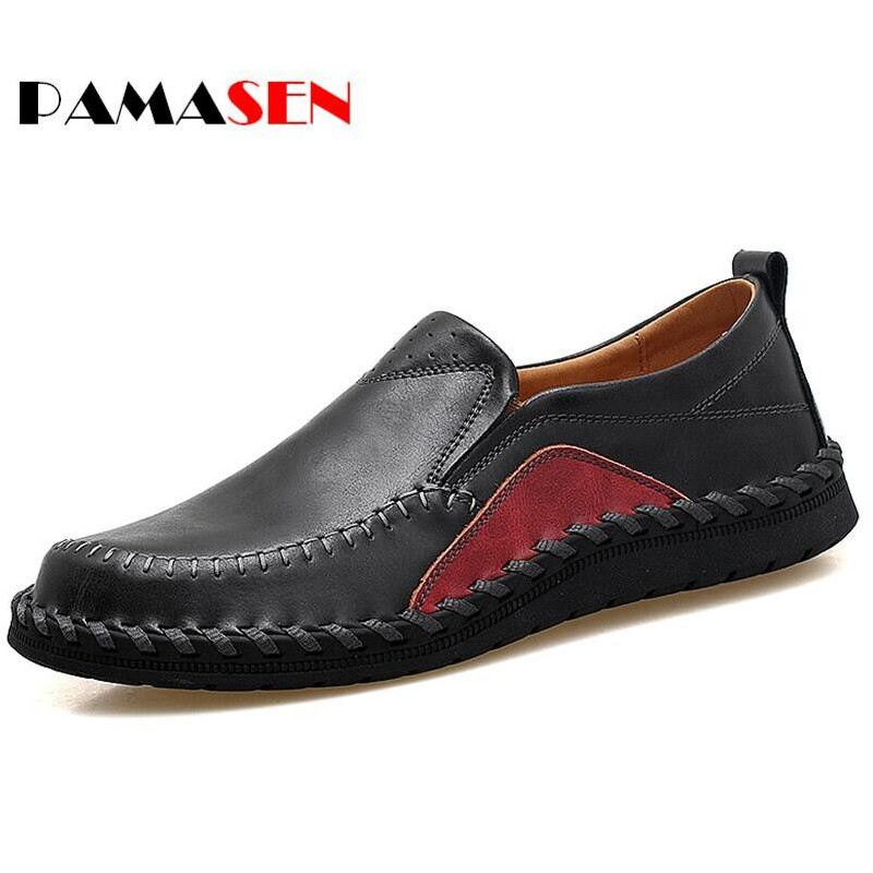 PAMASEN Big Size 38-47 Spring Men Flats Genuine Leather Casual Shoe Mens Daily Leisure Slip-On Flat Heel Shoes sapato masculino new 2017 summer brand casual men shoes mens flats luxury genuine leather shoes man breathing holes oxford big size leisure shoes