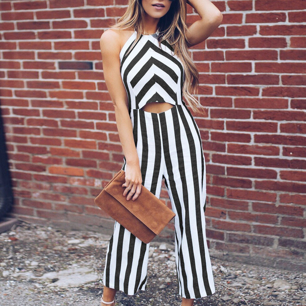 Women Jumpsuits Striped 2020 Ladies Summer Vacation Overalls Rompers Long Pants Onesies Jumpsuit Straight Wide Leg Off Shoulder