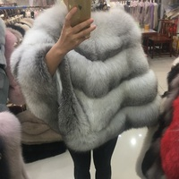 2018 new luxury genuine real Cross fox fur real fox fur ponchos and capes women thick winter warm fashion wraps and shawls lady
