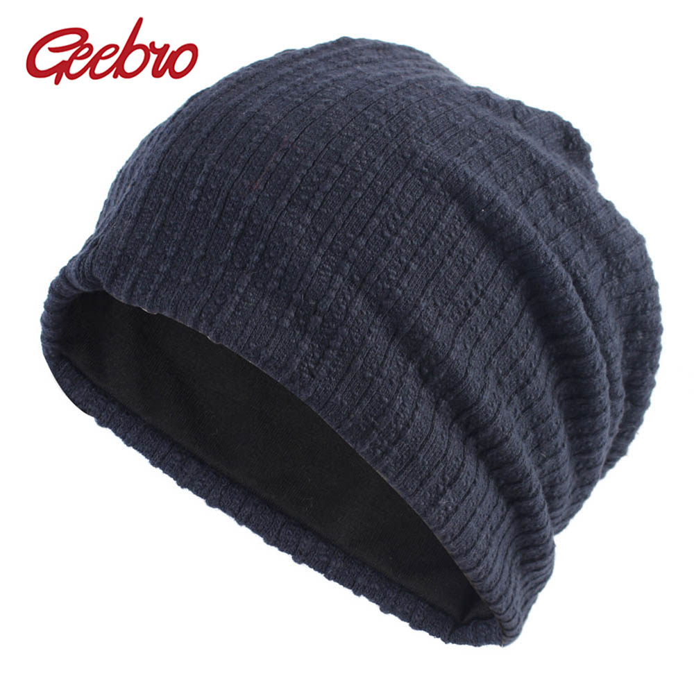 Geebro Women's Winter Beanie Hat 2018 Autumn New Knitted Slouchy Beanie for Women Plain Thick Warm Skullies Hat for Female DQ836(China)