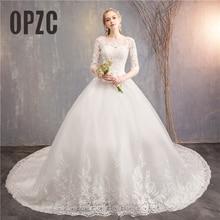 Fashion Weiß elfenbein Spitze Stickerei plus größe Hochzeit Kleid Neue Vestidos de novia Süße Oansatz Lange zug bridel halbe hülse