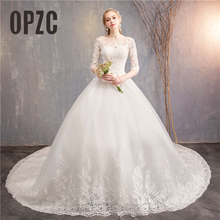 Fashion White ivory Lace Embroidery plus size Wedding Dress New Vestidos de novia Sweet O neck Long train bridel  half sleeve