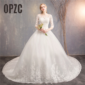 Image 1 - אופנה לבן שנהב תחרה רקמה בתוספת גודל חתונה שמלת חדש Vestidos דה novia מתוקה O צוואר ארוך רכבת bridel חצי שרוול