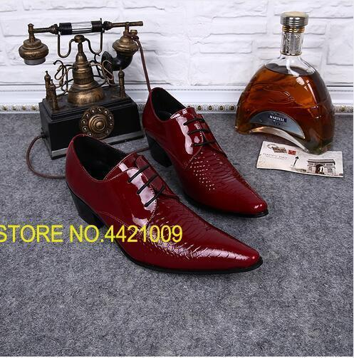 European high heel dress shoes for men red mens patent leather black shoes italian wedding pointy shoes slip on oxfords