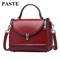6 Colors! New Design Europe and American Style Genuine Leather Women Messenger Bag/ Fashion Oil Waxing Leather Small Doctor Bag
