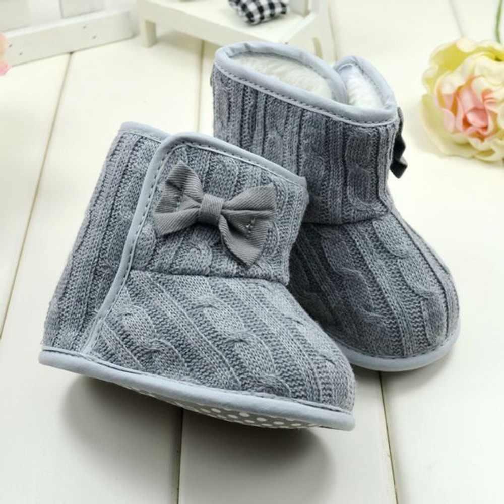 Mới Mùa Đông Toddler Lông Cừu Tuyết Boot Bé Giày Trẻ Sơ Sinh Dệt Kim Bowknot Bé Ấm Giày Đỏ, hồng, xám, Rose