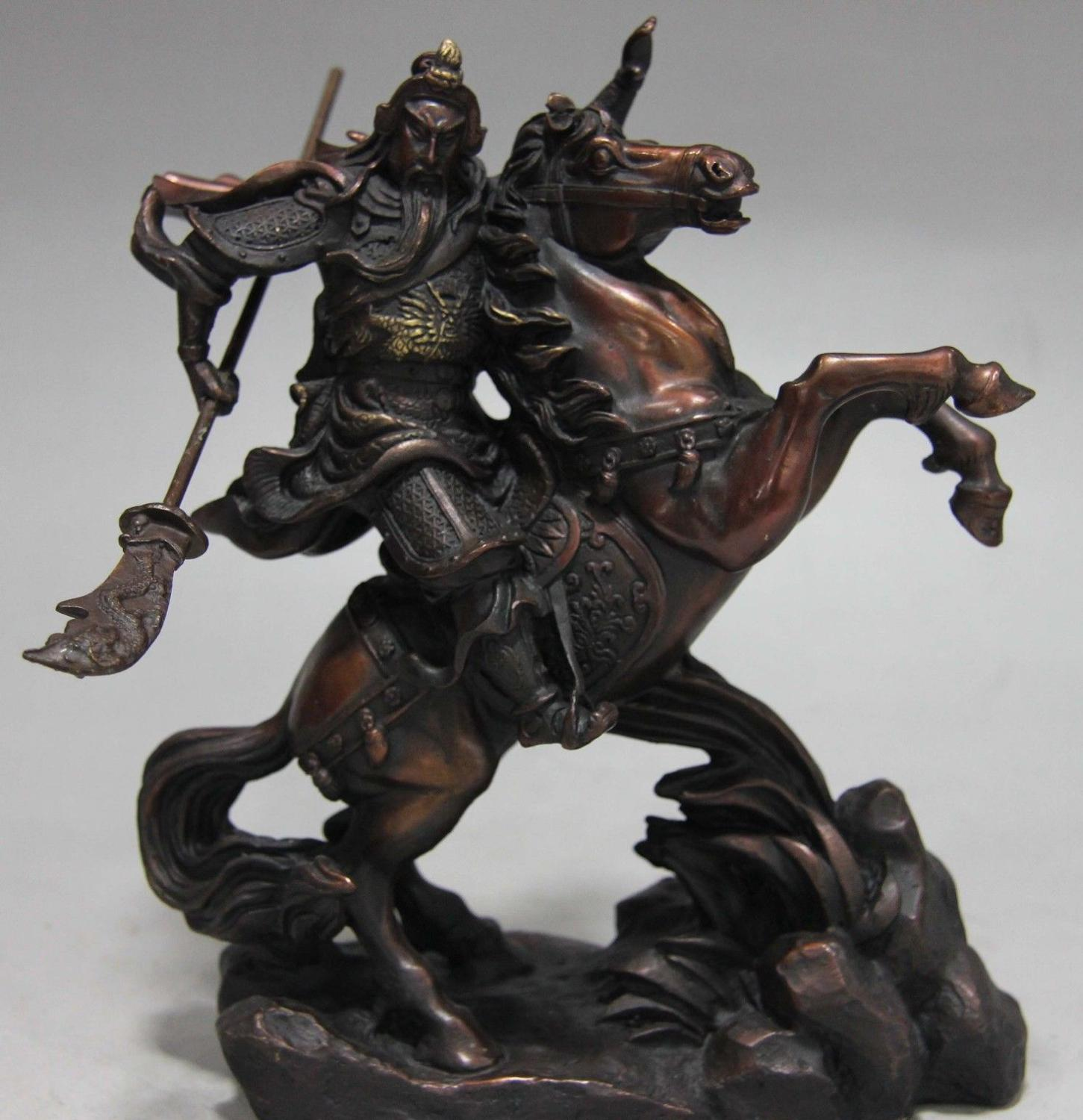 Free Shipping China Folk Red Copper Bronze Ride Horse Guan Gong Dragon Guan Yu Warrior Statue