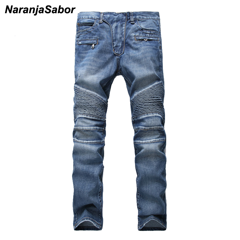 NaranjaSabor 2017 Men's Casual Straight Denim Trousers Mens' Biker Jeans Slim Pants Men Skinny Jeans Men's Brand Clothing 40 42 2017 fashion patch jeans men slim straight denim jeans ripped trousers new famous brand biker jeans logo mens zipper jeans 604