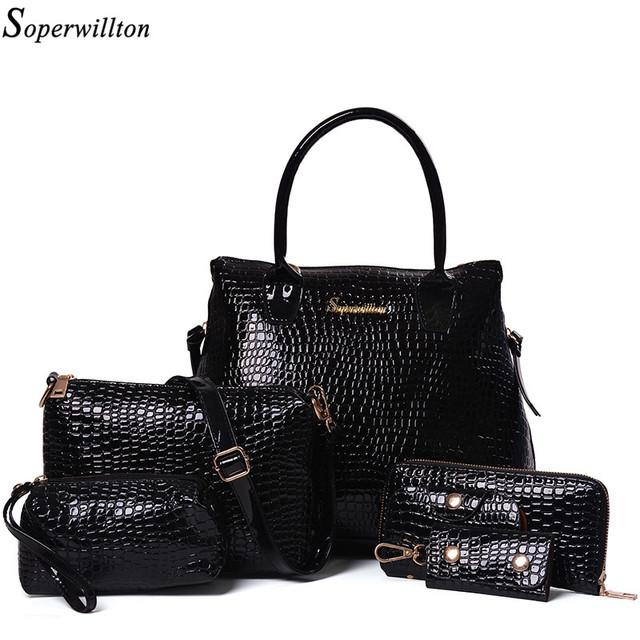 Soperwillton Brand Women Handbag Shoulder Bags Stone 5 Pieces Female Bolsas Feminina Bag Set Bags Femme Designer Handbag #SD662