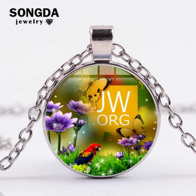 SONGDA JW.ORG Necklace Fashion Jehovah's Witnesses & Romantic Elegant Butterfly Flower Glass Picture Cabochon Pendant JW Jewelry